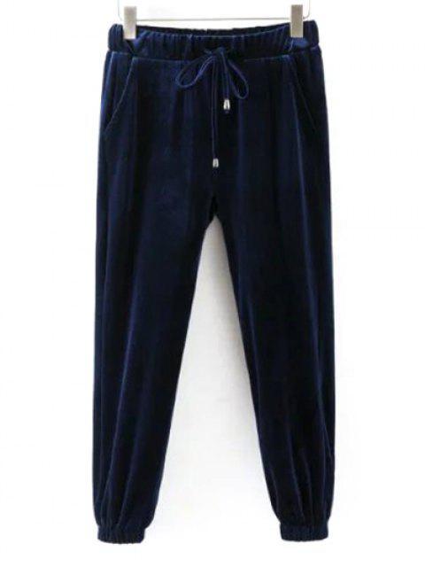 women's Drawstring Velvet Joggers Pants -   Mobile