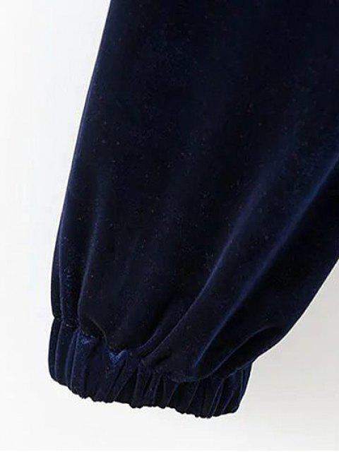 online Drawstring Velvet Joggers Pants - RED M Mobile