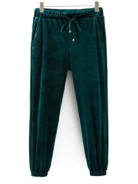 hot Drawstring Velvet Joggers Pants - GREEN L Mobile