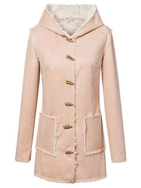 outfits Horn Button Fleeced Faux Suede Coat - YELLOWISH PINK L Mobile