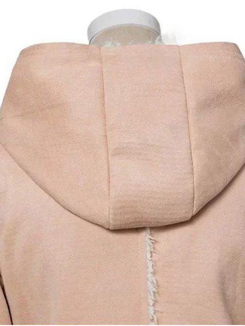 shop Horn Button Fleeced Faux Suede Coat - YELLOWISH PINK M Mobile