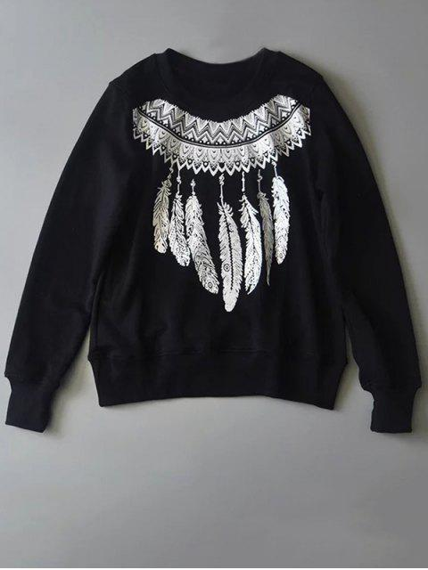 women's Aztec Feathers Print Sweatshirt - BLACK S Mobile