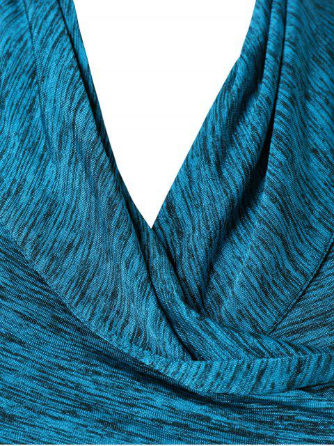 buy Heather Side Zipper Plus Size Jacket - LAKE BLUE 4XL Mobile