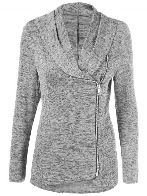 women Heather Side Zipper Plus Size Jacket -   Mobile
