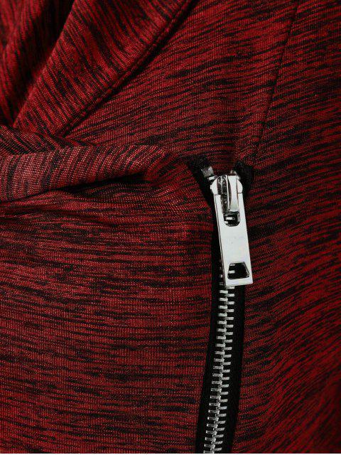 online Heather Side Zipper Plus Size Jacket - BURGUNDY 4XL Mobile