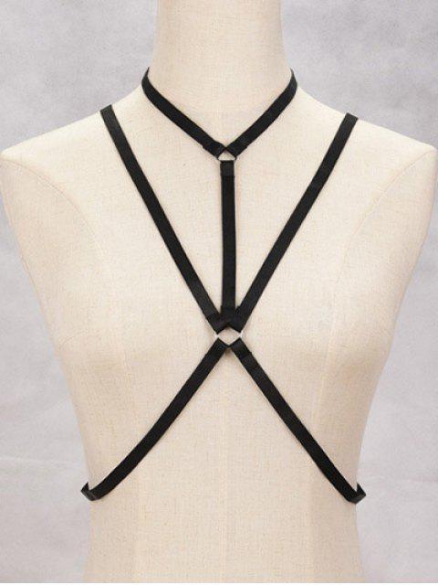women Geometric Bra Bondage Harness Body Jewelry - BLACK  Mobile