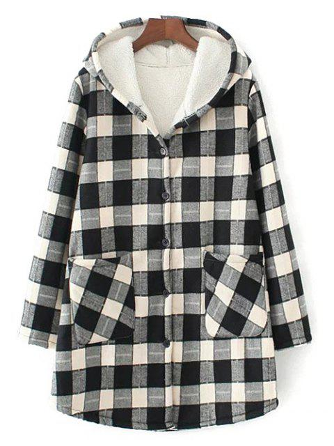 womens Hooded Plus Size Plaid Fleeced Coat - WHITE AND BLACK XL Mobile