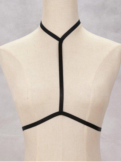 shop Bra Bondage Harness Hollow Out Body Jewelry - BLACK  Mobile
