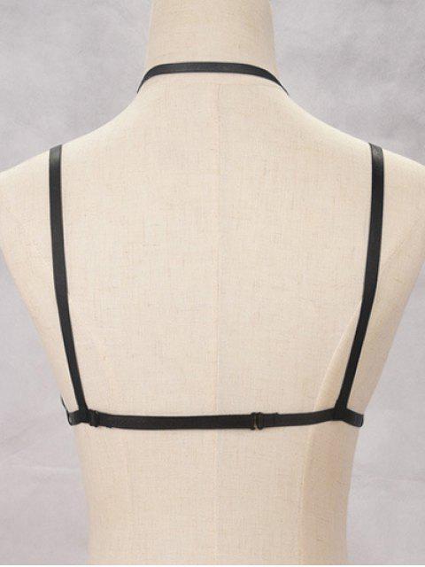 Bijoux de corps bondage en forme de soutiens-gorge harni multicouches - Noir  Mobile