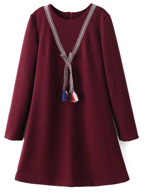 women Tasselled Chevron Tunic Dress - BURGUNDY L Mobile
