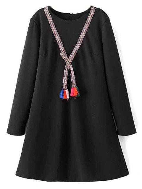 lady Tasselled Chevron Tunic Dress - BLACK XL Mobile