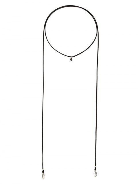 shop Faux Gem Choker Drawstring Sweater Chain - BLACK  Mobile