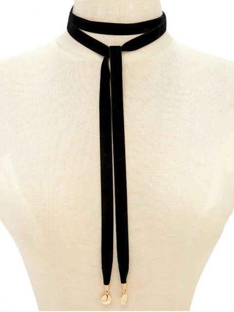 shops Choker Velvet Drawstring Sweater Chain - BLACK  Mobile