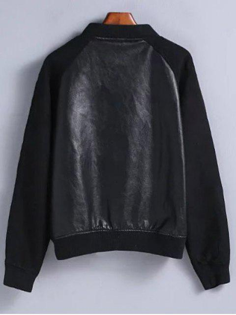 sale PU Leather and Suede Bomber Jacket - BLACK M Mobile