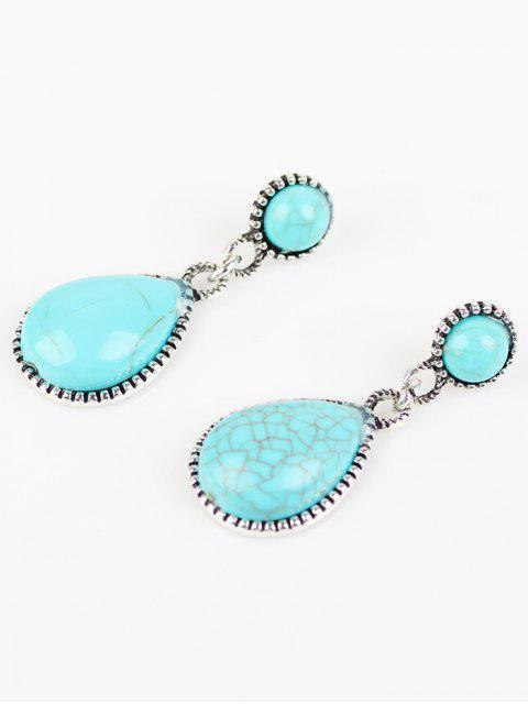 Boucles d'oreilles Goutte d'eau bohémien Turquoise artificielle - Bleu Ciel  Mobile