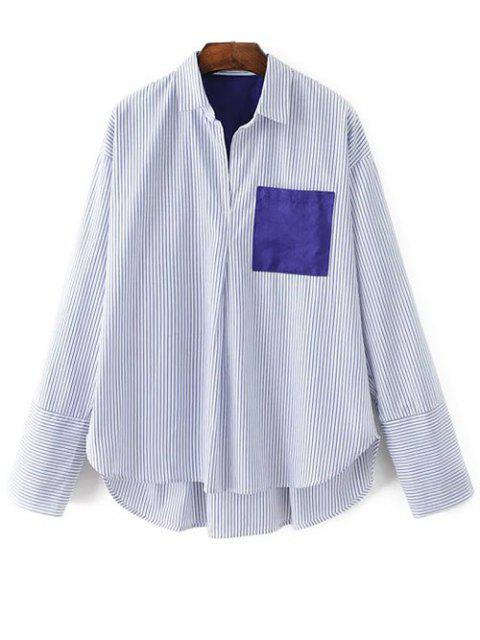 hot Patch Pocket Striped Blouse - WHITE M Mobile