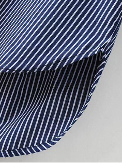 shop Patch Pocket Striped Blouse - CADETBLUE M Mobile
