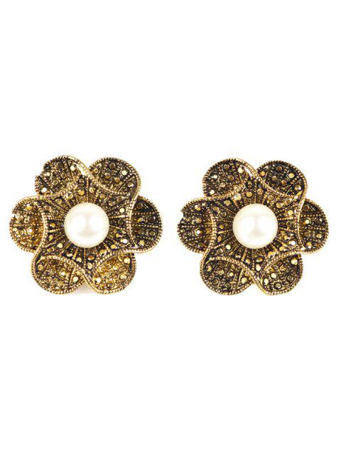 unique Adorn Artificial Pearl Flower Earrings - BRONZE-COLORED  Mobile