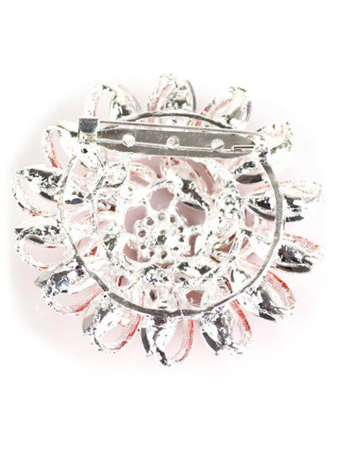 unique Flower Rhinestone Brooch - RED  Mobile