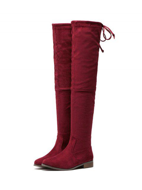 womens Flat Heel Flock Zipper Thing High Boots -   Mobile