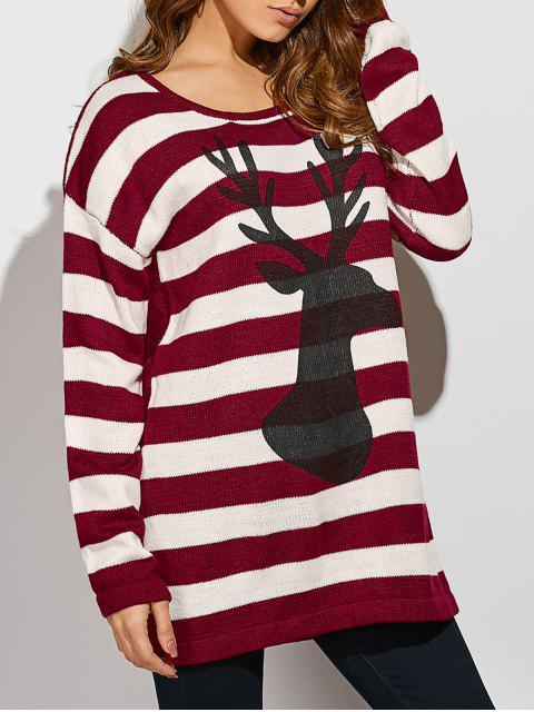 online Christmas Striped Back Button Sweater - STRIPE ONE SIZE(FIT SIZE XS TO M) Mobile
