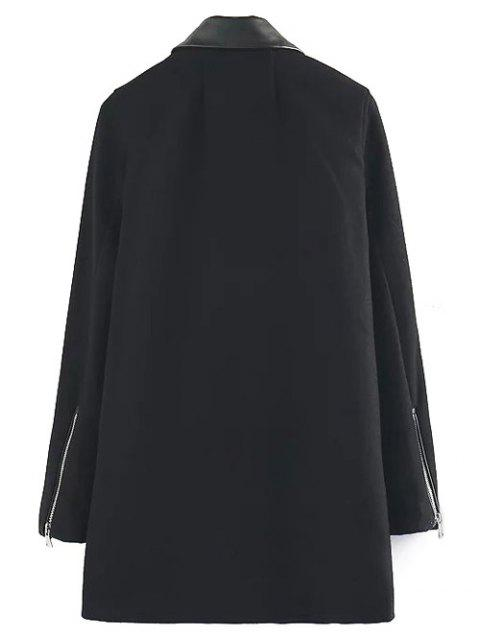 buy PU Detail Wool Blend Coat - BLACK L Mobile