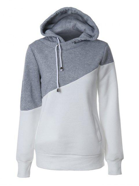 trendy Casual Color Block Hoodie - GREY AND WHITE S Mobile