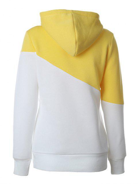 buy Casual Color Block Hoodie - YELLOW M Mobile