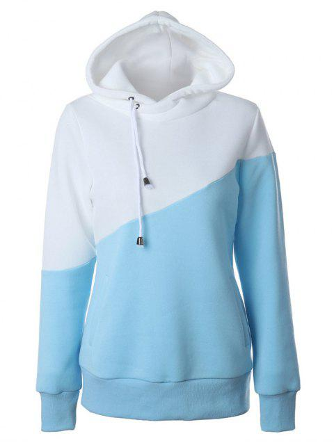 ladies Casual Color Block Hoodie - BLUE AND WHITE M Mobile