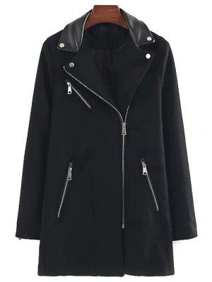 PU Detail Wool Blend Coat - Black S