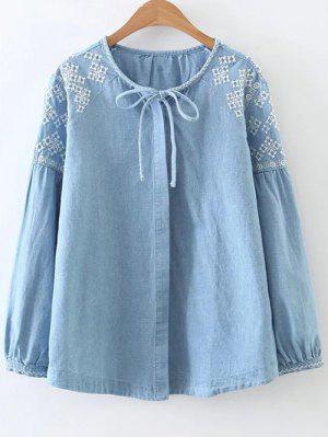 Button Up Embroidered Denim Blouse - Denim Blue M