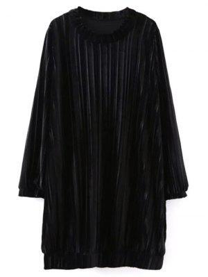 Dobladillo Elástico Vestido De Terciopelo Relajado - Negro M