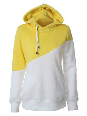 Casual Color Block Hoodie - Yellow M