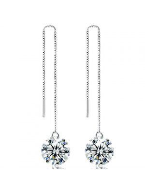 Rhinestone Chain Earrings - Silver