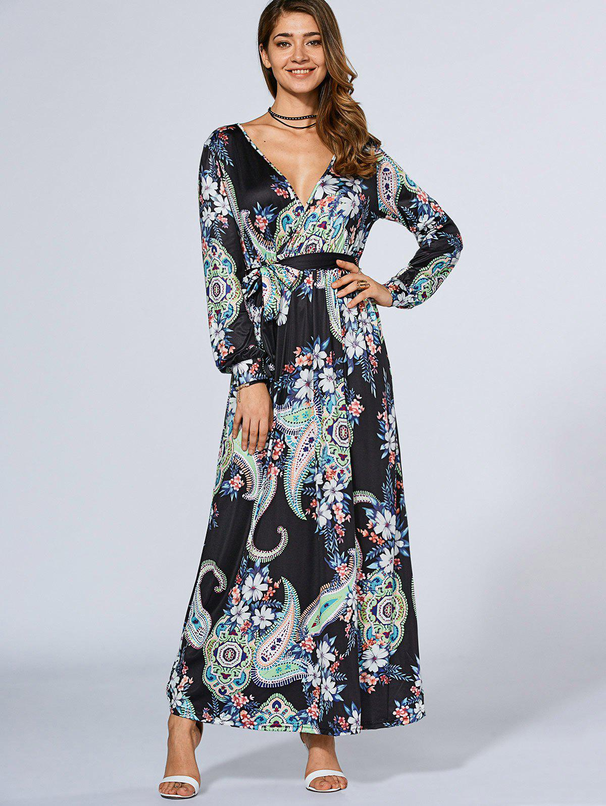 Long Sleeve Crossover Maxi Dress - PURPLISH BLUE L