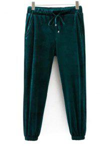 Drawstring Velvet Joggers Pants - Green M