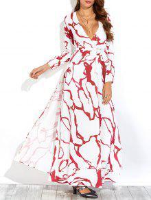 مطبوعة كم طويل شق فستان ماكسي عارضة - أبيض S