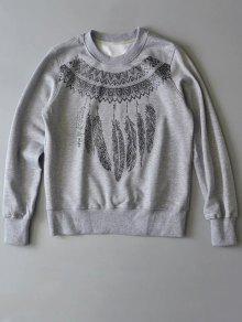 Sweat-shirt Imprimé Du Col Rond - Gris S