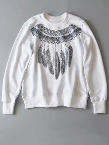 Sweat-shirt Imprimé Du Col Rond - Blanc M