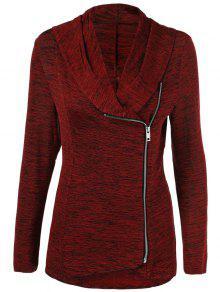 Buy Heather Side Zipper Plus Size Jacket - BURGUNDY 2XL
