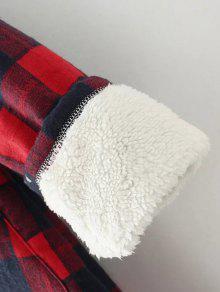 hooded plus size plaid fleece mantel wei schwarz jacken m ntel xl zaful. Black Bedroom Furniture Sets. Home Design Ideas