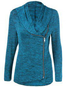 Buy Heather Side Zipper Plus Size Jacket - LAKE BLUE 2XL