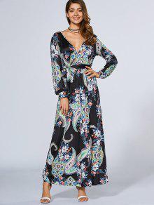 Long Sleeve Crossover Maxi Dress - PURPLISH BLUE S