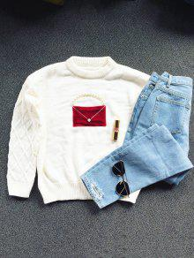 Faux Pearl Crew Neck Patch Sweater - Off-white