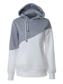 Casual Color Block Hoodie - Grey And White S