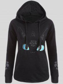 Plus Size Vivid Cartoon Print Hoodie - Black 4xl
