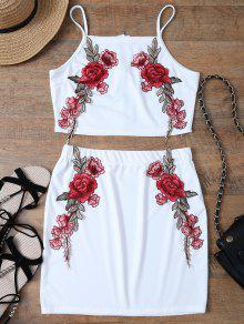 Floral Embroidered Zippered Top With Skirt - White M