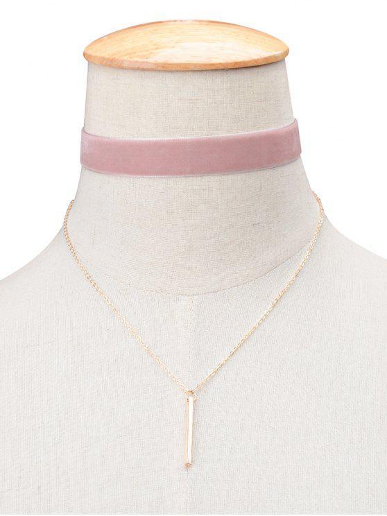 online Vintage Velvet Layered Bar Choker Necklace - PINK