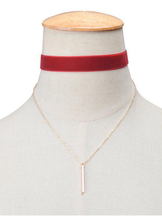 Collier choker rétro étagé en velours avec barre - Bourgogne