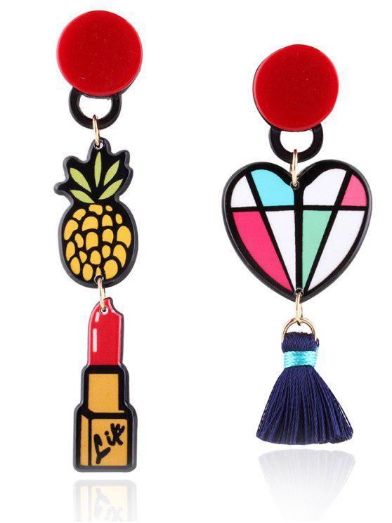 buy Asymmetric Lipstick Heart Tassel Drop Earrings - COLORMIX